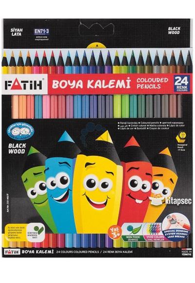 Fatih Black Wood Kuruboya Kalemi 24 Renk Tam Boy 33424 8690216331405