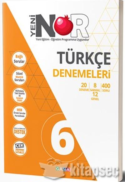 6 Sınıf Nar Türkçe Denemeleri Gama Yayınları 9786059522595