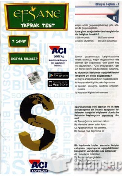 7 Sınıf Sosyal Bilgiler Efsane çek Kopart Yaprak Test Açı Yayınları