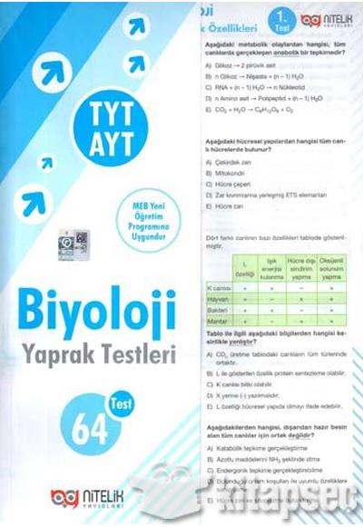 Tyt Ayt Biyoloji Yaprak Test Nitelik Yayınları 9786052720622