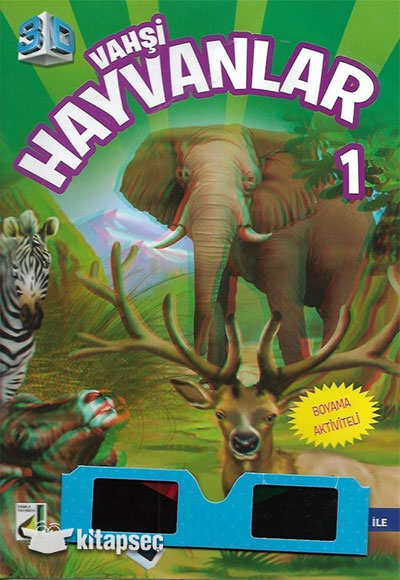 3 Boyutlu Vahsi Hayvanlar 1 Boyama Kitabi Damla Yayinevi