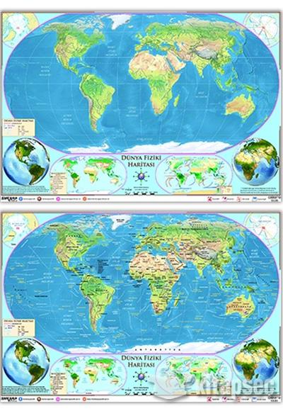 Dünya Fiziki Haritası Yazılabilir Silinebilir Ankara Yayıncılık