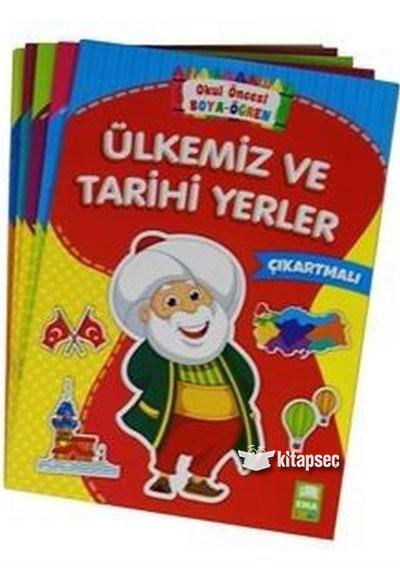 Okul Oncesi Boya Ogren Seti Cikartmali 5 Kitap Takim Ema Cocuk